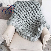 Bojay Giant Wool Super Chunky Knitting Baby Blanket Knitted Pillow Carpet Thick Wholesale 80*130cm