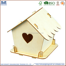 Factory supply handmade wood craft bird houses from china