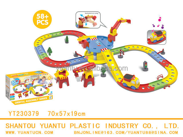 B/O puzzle game electric plastic toy parking lot car and track