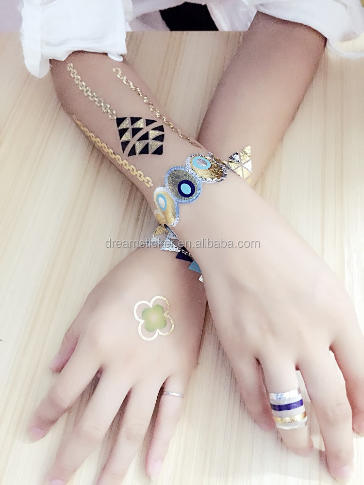 Gold silver foil tattoo metallic flash tattoo jewelry bracelet necklace body temporary tatoo sticker/fake gold tattoos