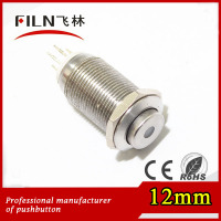 FILN CE&ROHS 12mm Metal 1NO1NC 12V Dot Led wireless switch push button