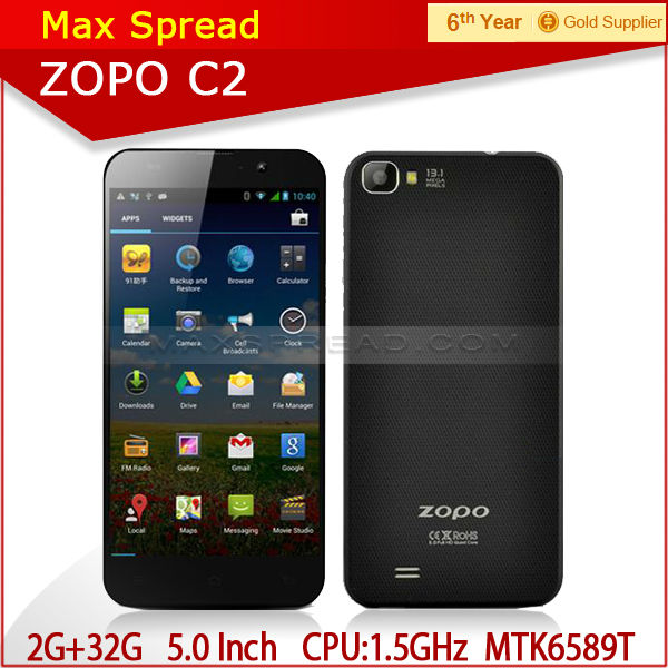 Android 4.2 dual sim quad core 1.5GHz MTK6589T 2GB 32GB zopo c2 phone cellular