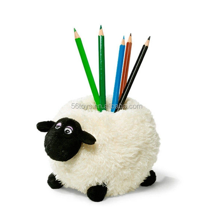 Cartoon plush animal pen container from good supplier
