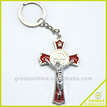 Religious zinc alloy Metal cross keychain