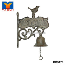 ANTIQUE WELCOME CAST IRON HANGING BELL