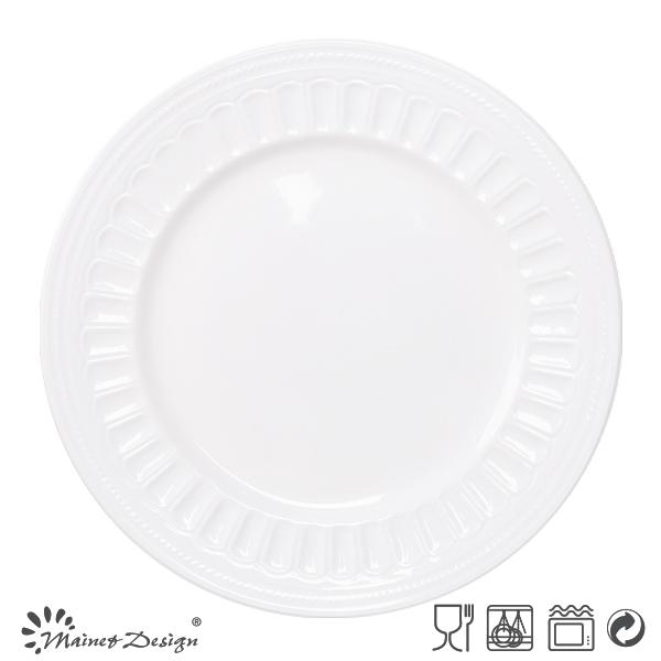 Wholesale Embossed Restaurant Dinner Platescheap White Dinner