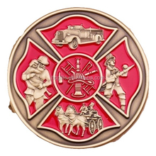 "1.75"" antique brass coin engraved with the Fireman's Prayer will provide courage and strength to any Firefighter."