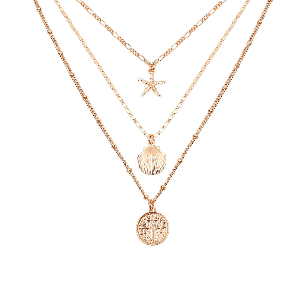 Bohemian Multi-layer Necklace Gold Coin SeaShell Necklace Set Summer <strong>Jewelry</strong>