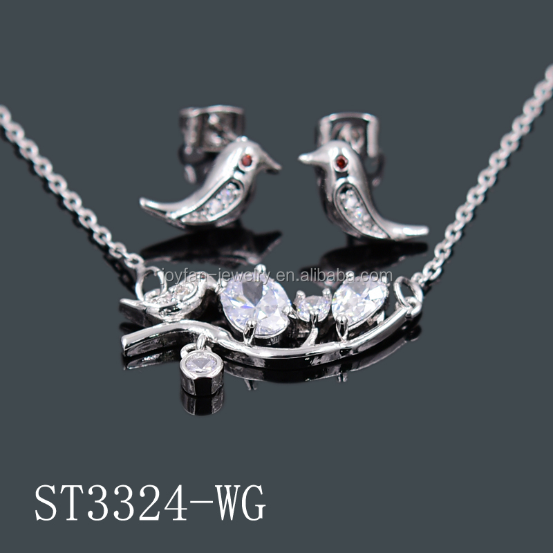 Fashion stone jewelry gold plated bird design jewelry sets earrings and pendant sets