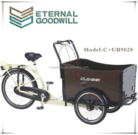 Fashionable cargo bike/cargo tricycle/reverse trike UB9028 three wheel bike with front wooden box for adult