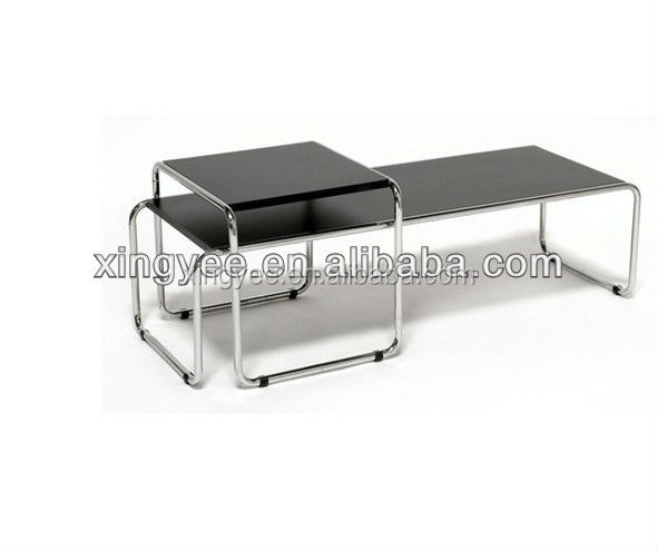 modern living room coffee table furniture home centre stainless steel nesting table tempered glass two pieces nest of tables