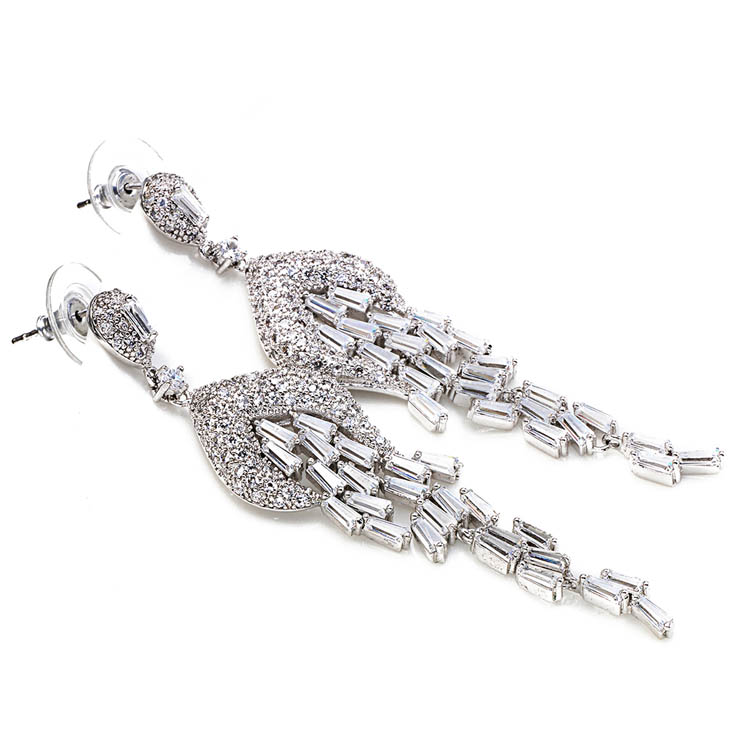 Latest Designs Genuine Diamond Dangle crystal drop earrings for women