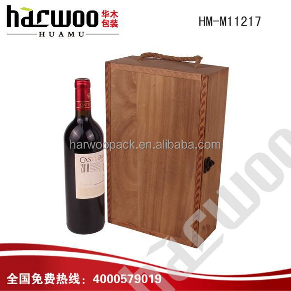 Hinged Wood wine gift box for sale