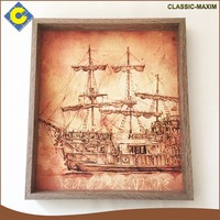 Hot sale customized transport ship vintage wooden picture frame