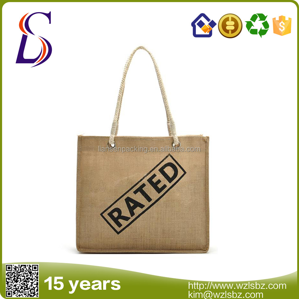 LS-LB004 Hot Sales For Promotion Imprint Customized Logo Eco Friendly Shopping Bag Fashion Handbags gunny bag