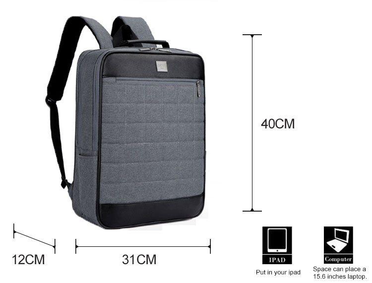 Factory direct male black waterproof 15.6 backpack
