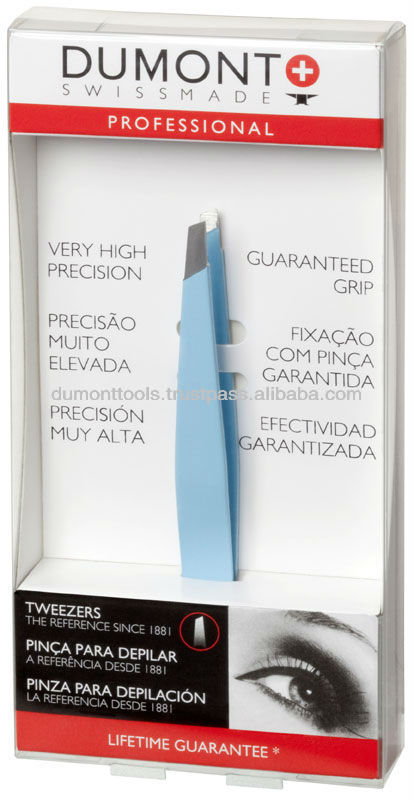 PROFESSIONAL COSMETIC EYEBROW LIGHT BLUE SLANTED TWEEZERS