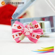 Printed grosgrain ribbon alligator hair clips with ribbon bow and flower