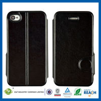 C&T Black flip wallet leather case cover for iphone 4 4s