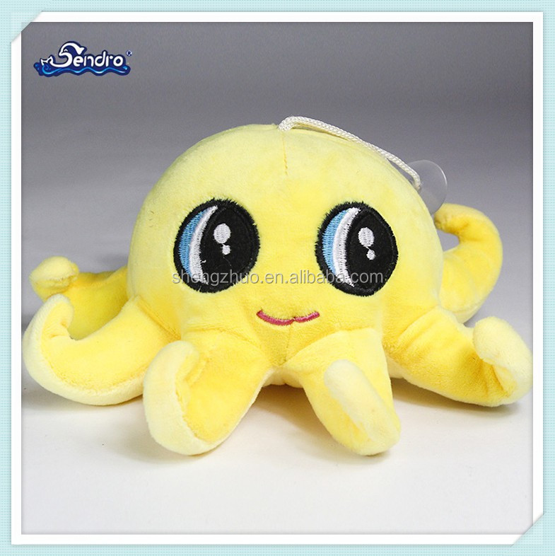 lovely yellow big octopus shaped plush toy for promotional gift