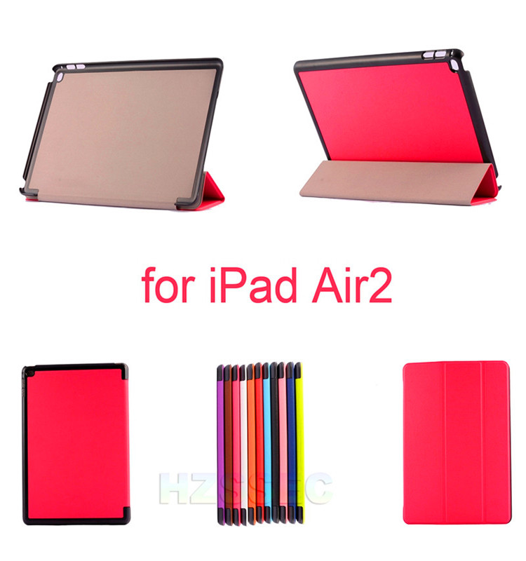 High quality three folding tablet accessories smart leather case folio tablet cover case with stand function for iPad Air 2