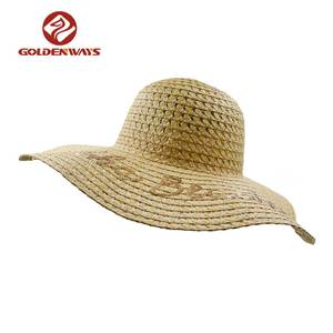 Wholesale sequins embroidery custom logo summer sun straw wide brim hat