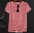 Custom made Women red white striped cotton t shirt casual T-shirt for lady