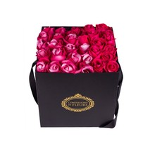 Luxury square paper cardboard gift flower box with handle