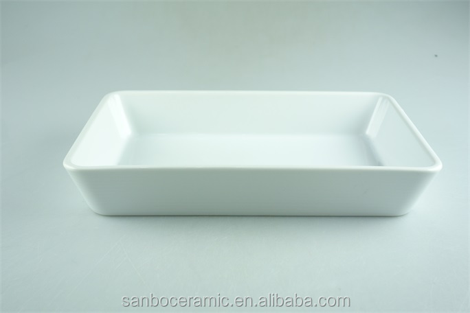 White rectangular casserole serving dish, cheap price stock for sale 14 inch bakeware