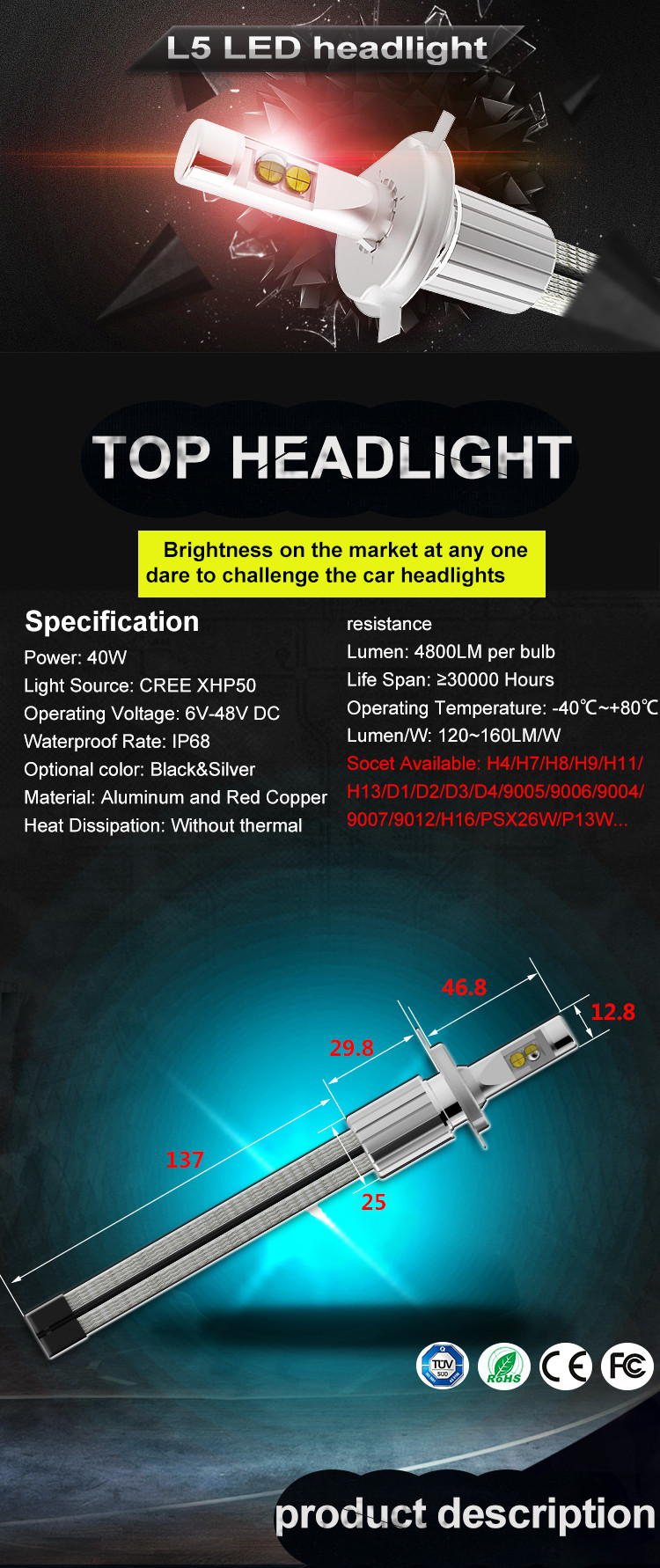 2017 New Super Bright High Power All in One Fanless 40W 4800lm Crees XHP50 L5 H7 car led headlight PX26D for motorcycle car led