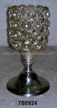 Iron & Glass Crystal Votive Tealight T- Light Candle Holder