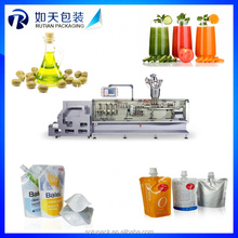 Yellow oil liquid spout pouch form fill seal machine