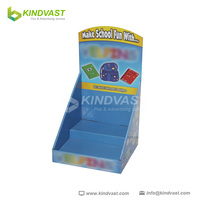 Corrugated cardboard step counter display for stationery