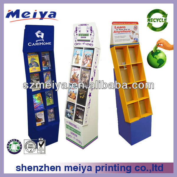 cardboard books newspaper retail display stands portable book display stand