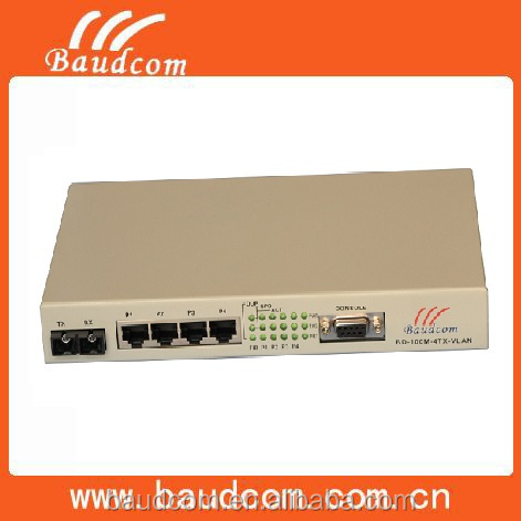 4 ports 100M ethernet VLAN fiber optic to rj45 media converter