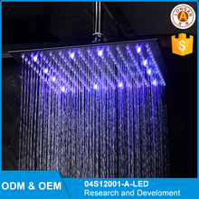 12-inch LED Stainless Steel Square ceiling mounted rain shower head