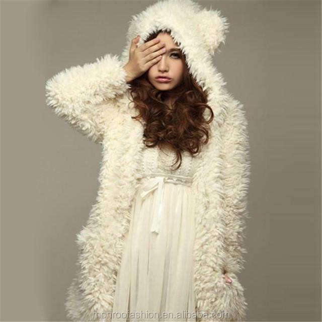 Fashion Women Autumn Winter Warm Coat Thicken Fleece Jacket Outerwear Hoodies Bear Ears Hooded Chaquetas Mujer Plus Size