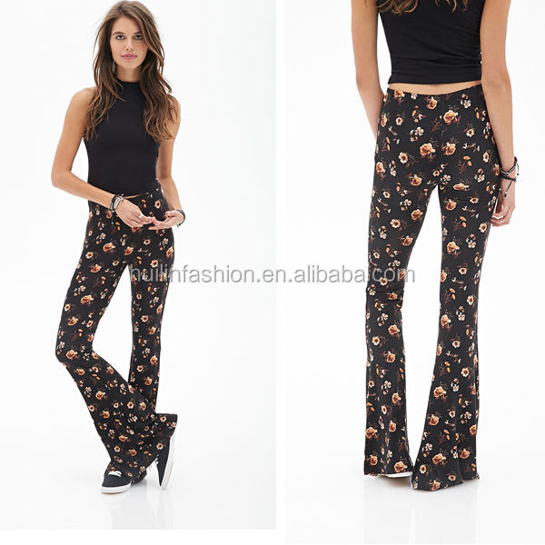 2014 Wholesale ladies floral printed jean pants wide leg pants