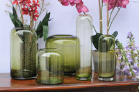 handmade cased color cylinder green glass vase