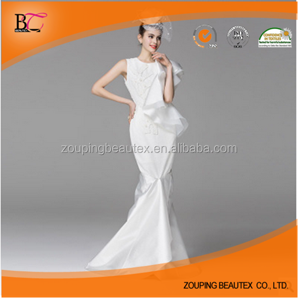 High-grade white manual nail bead neat, trailing fishtail wedding dress
