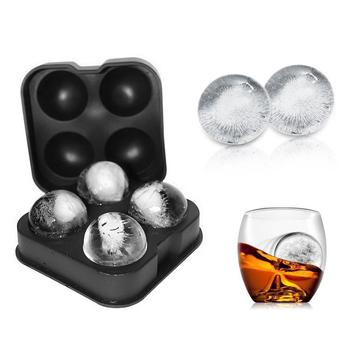 Novelty Food-Grade Silicone 4 Ice Ball Mold Tray Makers With 4 X 4.5cm Ball Capacity