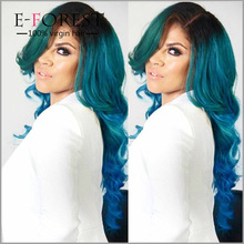 Blue Human Hair Wig Body Wave Brazilian Full Lace Ombre Human Hair Wigs Three Tone Human Hair Lace Front Wig For Black Women