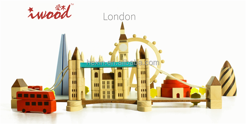 London style wholesale hot toys wooden toy house building blocks