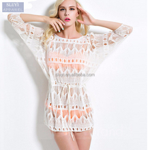 beach wear cover up 2017 long sleeve Swimsuit Summer Dress Blouse Hollow out white Lace Shirt wholesale beachwear