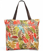 Wholesale Polyester large bag nice leaves printing beach bag hot sale