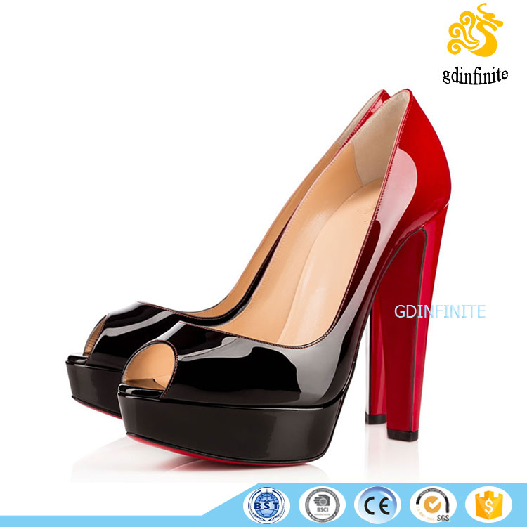 High quality Women black red gradient patent leather peep toe platform chunky pumps modern customized lady party dress shoes