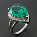 Top Quality Pear-shaped Green Spinel Ring 925 Sterling Silver Zircon Jewelry