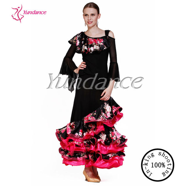 women flamenco dress spanish for ballroom dance AB035