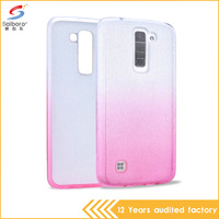 Free sample bling glitter pink color pc and tpu mobile phone case back cover for lg k7