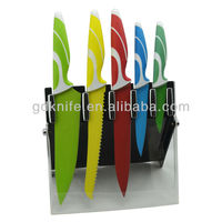 Higth quality 5pcs sharp stainless steel non-stick coating colorful kitchen knife set